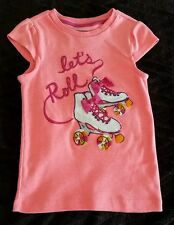 Gymboree Bright and Beachy Let's Roll Tee T-shirt 6 pink/hot coral/roller skates