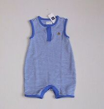 NWT Baby Gap Blue Striped Teddy Bear Shorts Romper sz 0-3 Months