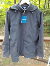 NWT Lands' End Women's Ladies XL Teal Brown ThermaCheck Fleece Hooded Jacket $60