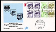 Berlín H-hoja 21 FDC, castillos + cerraduras 1982