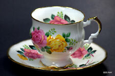 ELIZABETHAN FINE BONE CHINA ENGLAND  CUP & SAUCER Roses Flowers