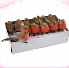 Box of 24pcs Artificial Robin Feather Birds Tree xmas Decoration christmas Craft