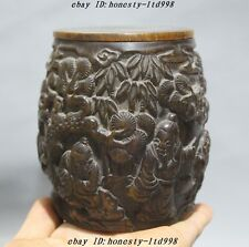 Collect Rare Chinese Natural Old Ox Horn Carved Pine Tree man boy Drum Box Boxes