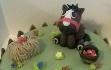 Fatto a mano 100% COMMESTIBILE CAVALLO A TEMA CAKE TOPPER Set