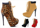NEW Women's Fashion Lace Up High Heel Platform Stilettos Ankle Booties Pumps