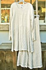Flax L Linen Tunic Top And Maxi Skirt Window Pane Pattern Beige Cream NWOT!!