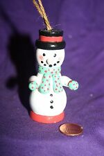 Vintage wood Christmas ornament Snowman