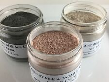 SET OF 3 CLAY FACE MASK w/Sea Clay Rose Clay Coconut Milk- Detox Brightens