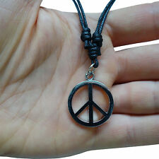 Peace Sign Silver Tone Pendant Chain Necklace Choker Charm Mens Ladies Boys Girl
