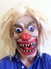 Crazy Clown Mask Blond Wig Hair Horror Jester Joker Fancy Party