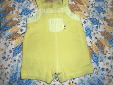 KRU Layette One Piece Light Green Knit Overall Shorts - size 6-9 months