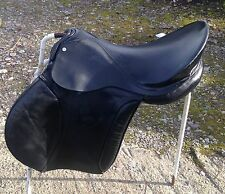 "16 1/2"" g/p Black English leather Saddle D-D 8"" med fit by Yorkshire Saddlery"