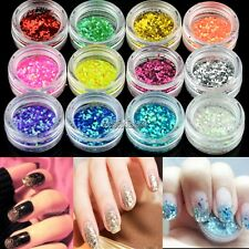 12colors Nail Art Hexagon Glitter Dust Powder For UV Gel Acrylic Manicure WST