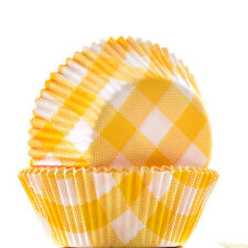 Cupcake Cases - Yellow and White Check x60 Baking Cups Muffin Cake