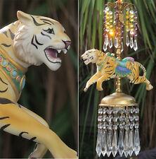 Porcelain Tiger Carousel Lamp SWAG Chandelier Vintage Amethyst Beads Crystal