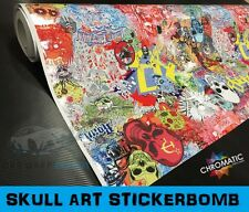 Stickerbomb Wrapping Vinyl 152 x 70cm - Skull Art - Car & Bike Wrap Film Foile