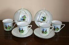 Bohemian Cups & Saucers - Dutch Couple Design - Deco Era c.1920's