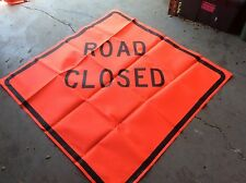 "GRAINGER 48"" KNIT ROAD SIGN ROAD CLOSED SYMBOL SAFETY FLAG FLUORESCENT NEW $35"