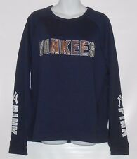 Victoria's Secret Pink Bling Sequin New York Yankees Crew Blue Large (L) NWT