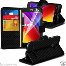 Carbon Fibre Wallet Flip Case Cover Free Screen Guard For Asus Zenfone 2 ZE500CL