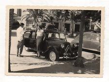PHOTO ANCIENNE Voiture Auto Automobile Renault Peugeot Citroën vers 1950 Couple