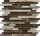 1-SF Brown Linear Natural Stone Crystal Glass Mosaic Tile Backsplash Kitchen Spa