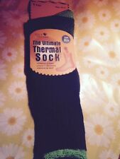 SOLE TRENDS ULTIMATE THERMAL SOCKS TOG 2.13 MAX HEAT THICK CUSHIONING BLK/GRN