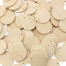 """50 Pack - 1 3/8"""" Unfinished Wood Pendants - Round Wooden Circle Shape Discs 35mm"""