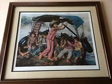 "Wai Ming ""Girls in Sampan"" Limited Edition Lithograph Print with COA, Framed"