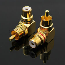 2pcs Gold Plated Right Angle RCA Adaptor Male to Female Plug Connector 90 Degree