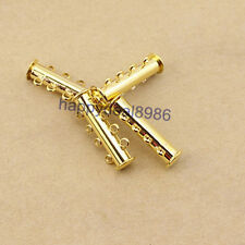 20 Sets 4-Strand Gold Plated Copper Magnetic Slide Lock Clasps Connector Finding