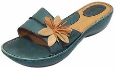 Born BOC Teal Green Leather Slip On Platform Wedge Sandal Shoe Women Size 9 40.5
