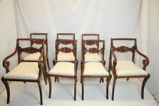Exceptional English Duncan Phyfe 7 Dining chairs w/ unique Carving c.1910 Ready!