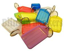 10 LARGE KEY FOBS DIFFERENT COLOURED RING TABS ID TAG NAME CARD MARKER LABEL 06B