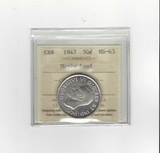 **1947 ML**, ICCS Graded Canadian Silver 50 Cent, **MS-63**