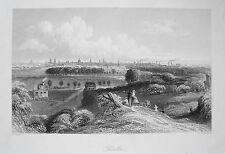 Berlin Gesamtansicht Spree seltener  echter  alter Stahlstich  1844