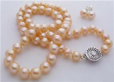 """7-8mm pink akoya cultured pearl necklace earring 18"""""""