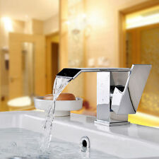 Chrome Brass Bathroom Waterfall Basin Faucet Vanity Sink Mixer Tap Single Hole