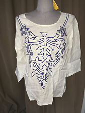 roberta roller rabbit Freymann NEW NWT white embroidered kaftan tunic top XL