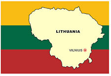 LITHUANIA MAP & FLAG - SOUVENIR NOVELTY FRIDGE MAGNET - BRAND NEW - GIFT