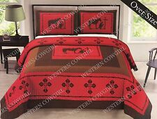 Texas Praying Cowboy Cross Western Quilt Bedspread Comforter 3 Pcs Oversize Set