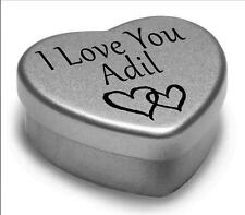 I Love You Adil Mini Heart Tin Gift For I Heart Adil With Chocolates or Mints