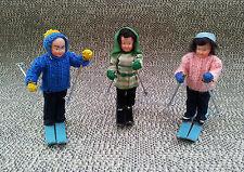 Anciens lot de 3 skieurs miniatures jouet ancien déco vintage old décorative toy