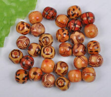 50Pcs 10MM mixed Hand painted round wood loose beads diy findings