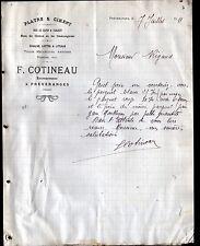 """PREVERANGES (18) MATERIAUX de CONSTRUCTION """"F. COTINEAU"""" en 1911"""