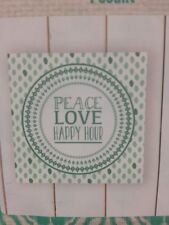 "Indoor Square ""Peace Love Happy Hour'' Hanging Decor Sign - 10'' x 10"""