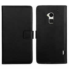 Black Genuine Leather Wallet Card Money Case Cover Stand For HTC One Max