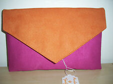 OVER SIZED ORANGE & FUCHSIA faux suede clutch bag, fully lined BN lovely!