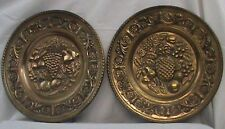 """VTG 2 Brass Plates 12.25"""" Made in England Grapes Pineapple Fruit Home Wall Decor"""
