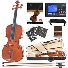 Cecilio CVN-200 Solid Wood Violin with Tuner, Lesson Book/Online Video, Size 1/4